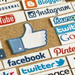 symbole like d'engagement en gros plan et logos réseaux sociaux.