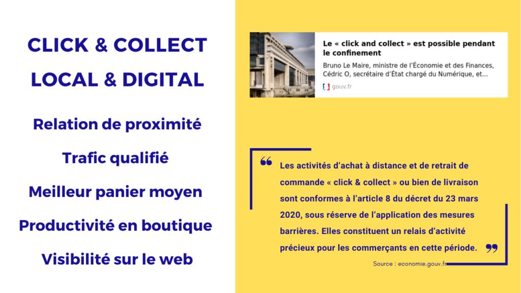 les 5 avantages du click and collect pour le commerce de proximité. Illustration