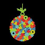 Boule de Noêl, cadeaux de fin d'année. Illustration